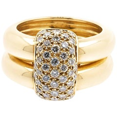 """Chaumet Model """"Duo"""", Yellow Gold Ring and Diamonds"""