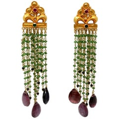 Tsavorire, Tourmaline, Ruby and Gold Bead Earrings
