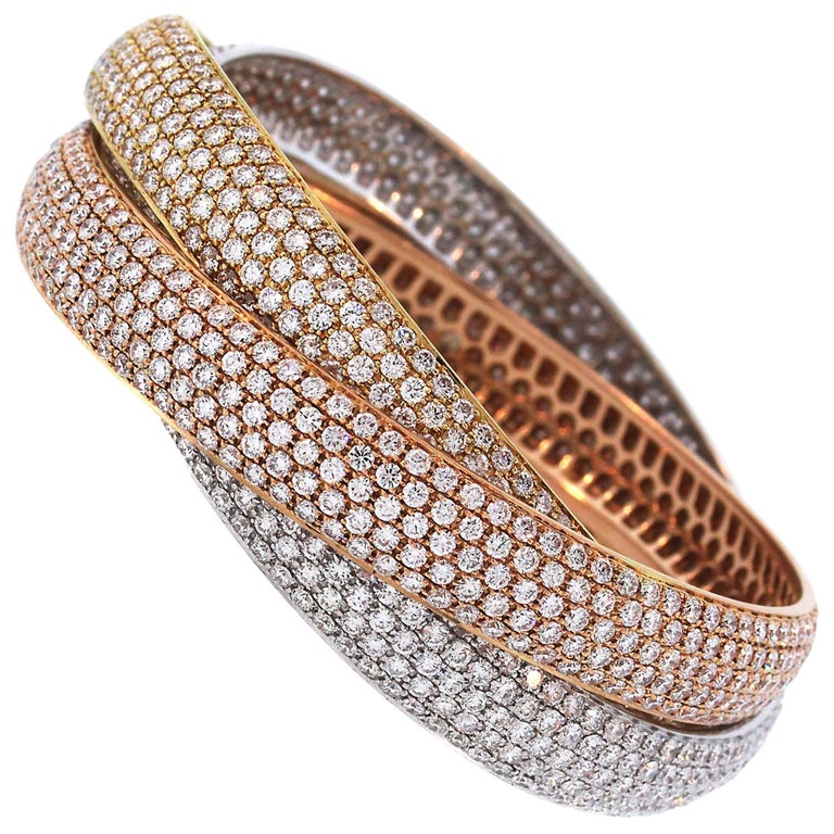 Tri-Color Gold and Diamond Bangle Bracelet