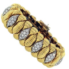 David Webb Diamond Yellow Gold Cuff Bracelet