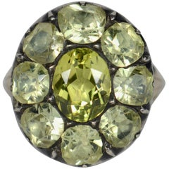 Antique 18th Century Portuguese Green Chrysoberyl Gold Silver Cluster Ring
