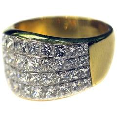 Quad Princess-Cut Diamond Yellow Gold Ring