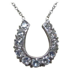 White Gold Diamond Horseshoe Necklace