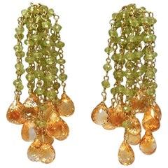 Dancing Apsara Gold, Peridot and Citrine Bead Earrings