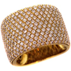 Yellow Gold and Diamond Wide Band Ring