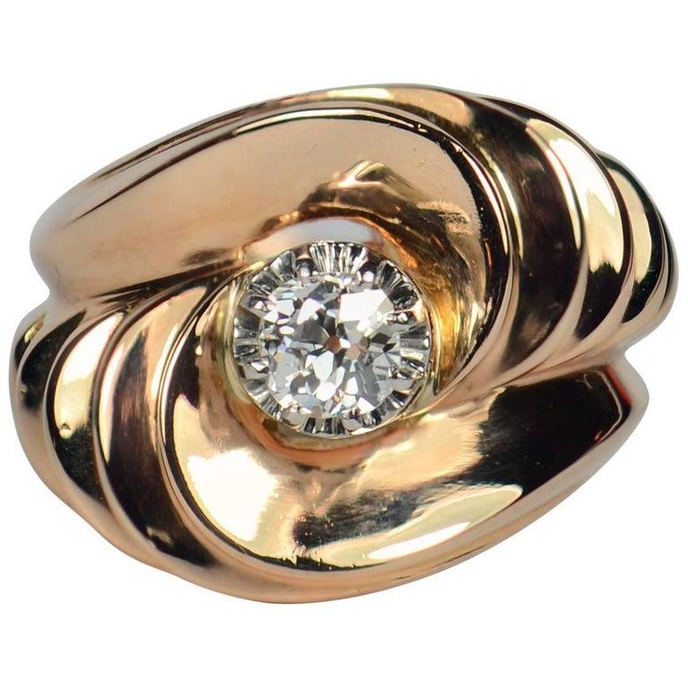 Retro 1940s Asymmetric Tourbillon Diamond Rose Gold Ring