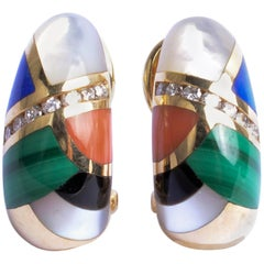 Asch Grossbardt Inlaid Stones Gold Earrings