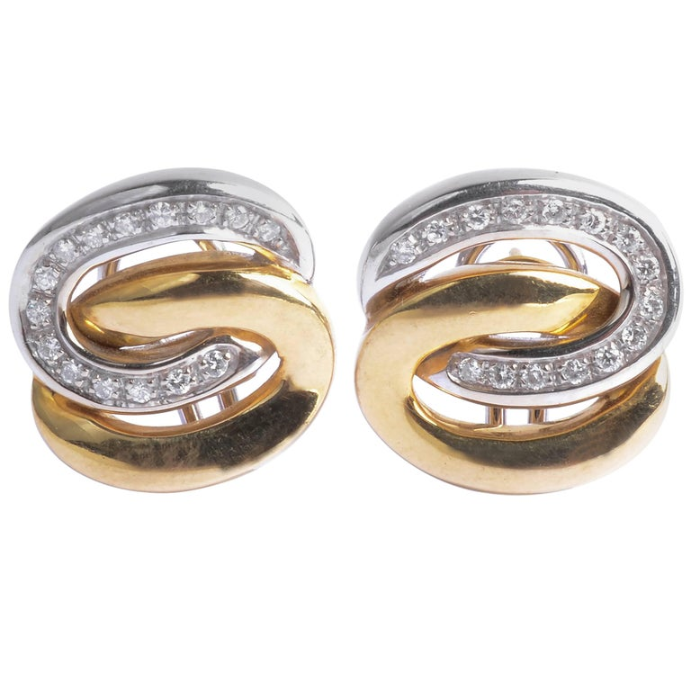 Gold and Diamond Interlocking Ovals Earrings