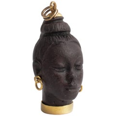 Finely Carved African Female Gold Earring Ebony Pendant