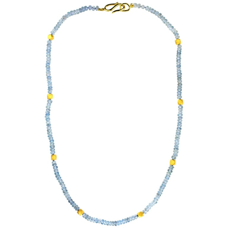 Julius Cohen Aqua and Geometric Gold Bead Necklace For Sale