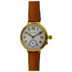 I.W.C. Schaffhausen Yellow Gold WWI Military Campaign Style Manual Wristwatch