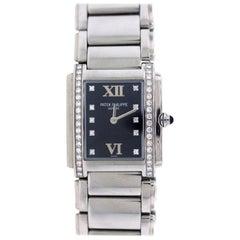Patek Philippe Ladies Stainless Steel Diamond Twenty-4 Black Dial Wristwatch