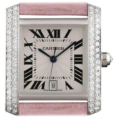 Cartier White Gold Diamond Tank Francaise Automatic Wristwatch Ref WE00351