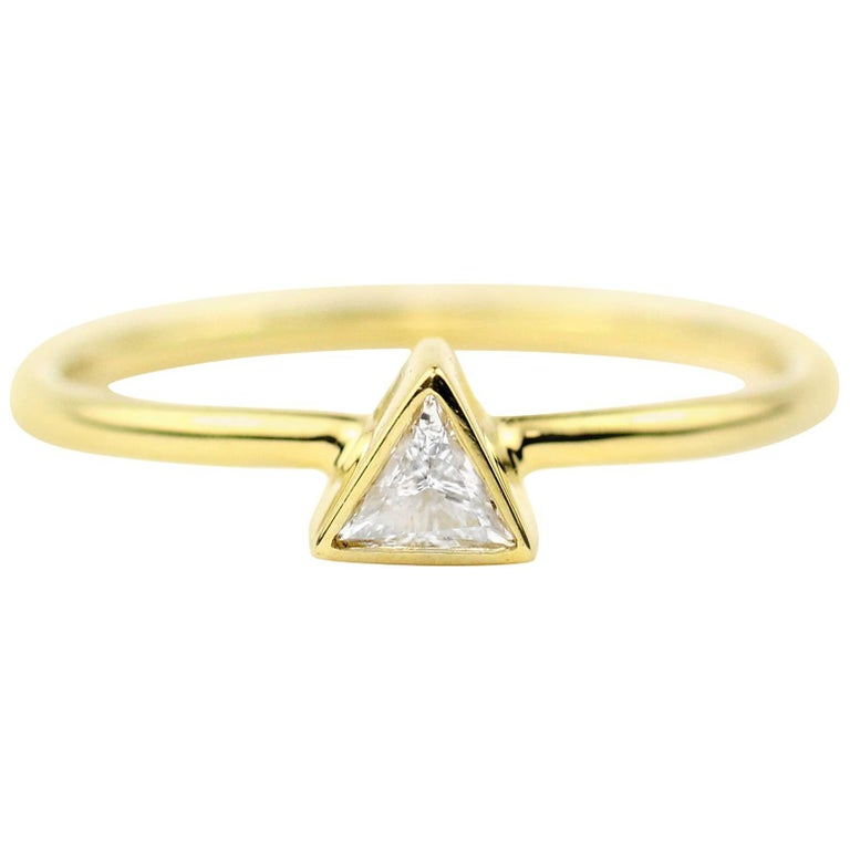 Julius Cohen Gold and Triangle Diamond Ring
