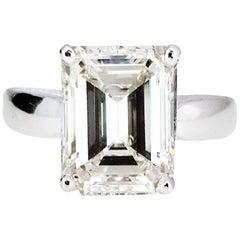 5.04 Carat Emerald Cut Diamond Solitaire Ring