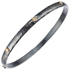"Lika Behar ""Stockholm"" Diamond Bangle Bracelet in 24 Karat Yellow Gold"