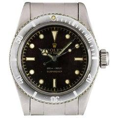Rolex Stainless Steel Submariner Vintage Big Crown Automatic Wristwatch