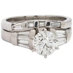 Modern Engagement Ring Platinum 1.03 Carat Round Brilliant F-VVS2