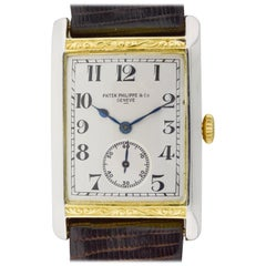Patek Philippe Yellow and White Gold Art Deco Engraved Tank Style Watch