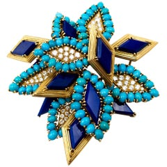 1970s Modernist Diamond Lapis Turquoise Brooch
