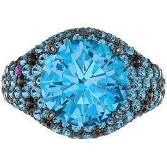 Ferrucci 4.50 Carat Blue Topaz Black Diamond Black Gold Ring