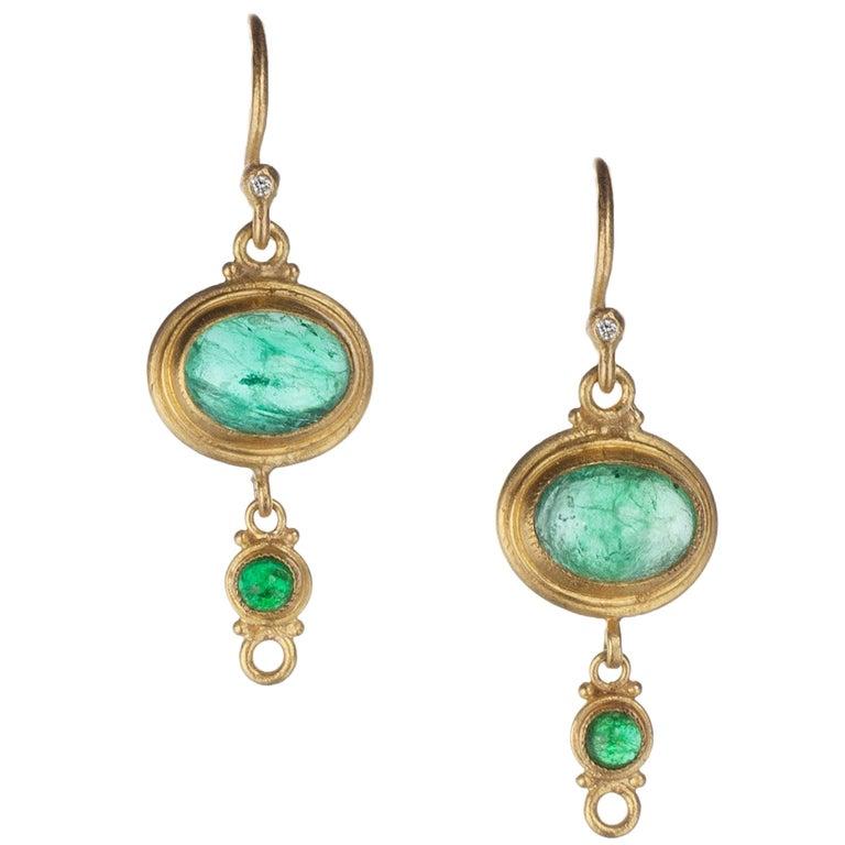 "Lika Behar ""Reflections"" Emerald and Diamond Drop Earrings in 24 and 22 Karat 1"