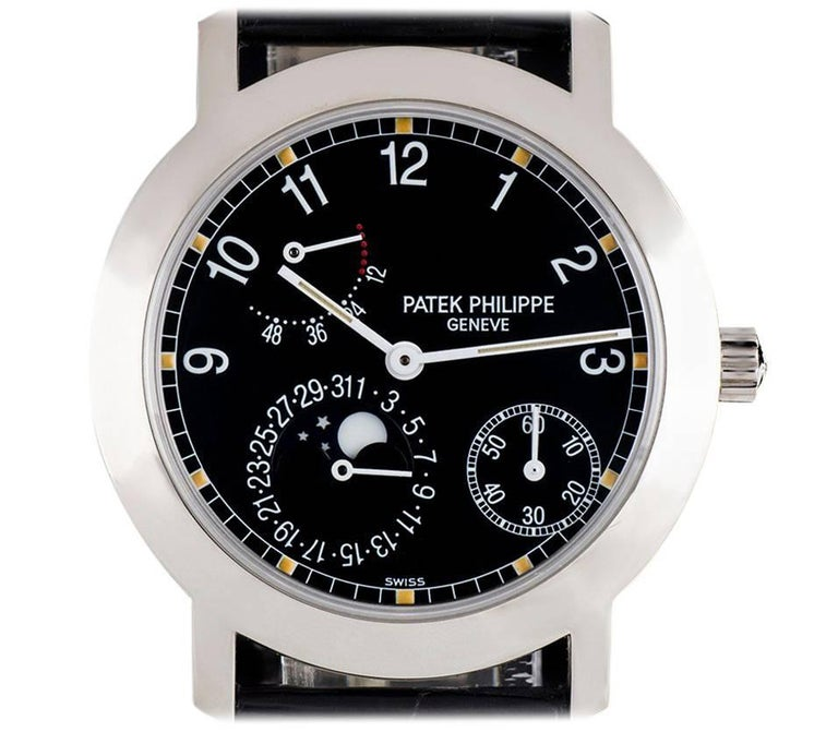 Patek Philippe White Gold Moon Phase Power Reserve Automatic Wristwatch