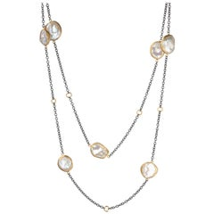 "Lika Behar ""Katya"" Pearl Necklace in 24 Karat Yellow Gold and Oxidized Sterling"