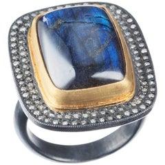 "Lika Behar ""Nightfall"" Labradorite and Diamond Ring in 24 Karat Yellow Gold"