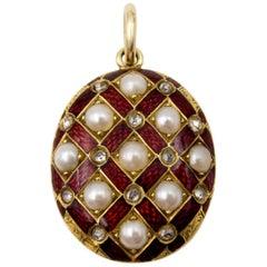 Antique Pearl Diamond Red Enamel Locket Pendant