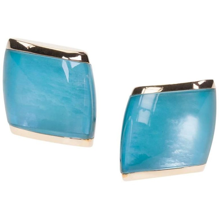 "Vhernier ""Plateau"" Ear Clips in Turquoise, Mother-of-Pearl and Crystal Quartz"