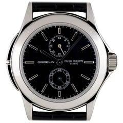 Patek Philippe Platinum Black Dial Calatrava Travel Time Manual Wind Wristwatch