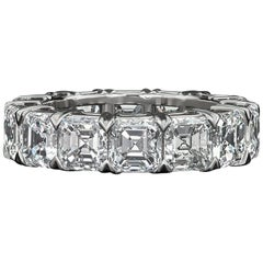 David Rosenberg Asscher Cut 11.58 Carats Platinum Diamond Eternity Wedding Band