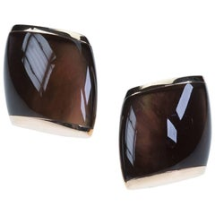 "Vhernier Large ""Plateau"" Ear Clips in 18 Karat Smokey Quartz and Mother-of-Pearl"