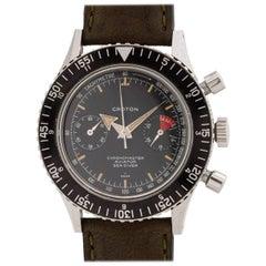 Croton Stainless Steel Chronomaster Aviator Diver Chronograph Manual Wristwatch
