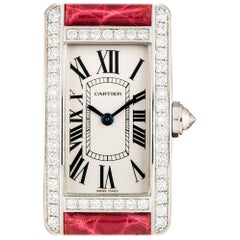 Cartier Ladies White Gold Tank Americaine Diamond Bezel Quartz Wristwatch