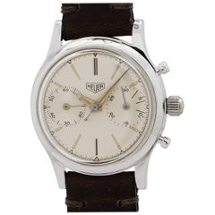 Heuer Stainless Steel Pre Carrera Chronograph Manual Wristwatch, circa 1950s