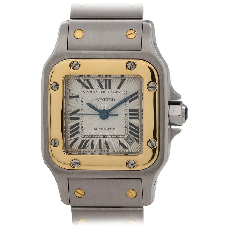 Cartier Ladies Yellow Gold Stainless Steel Santos Galbe Automatic Wristwatch