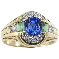 Sapphire, Emerald and Diamond Vintage 14ct gold Ring c.1950