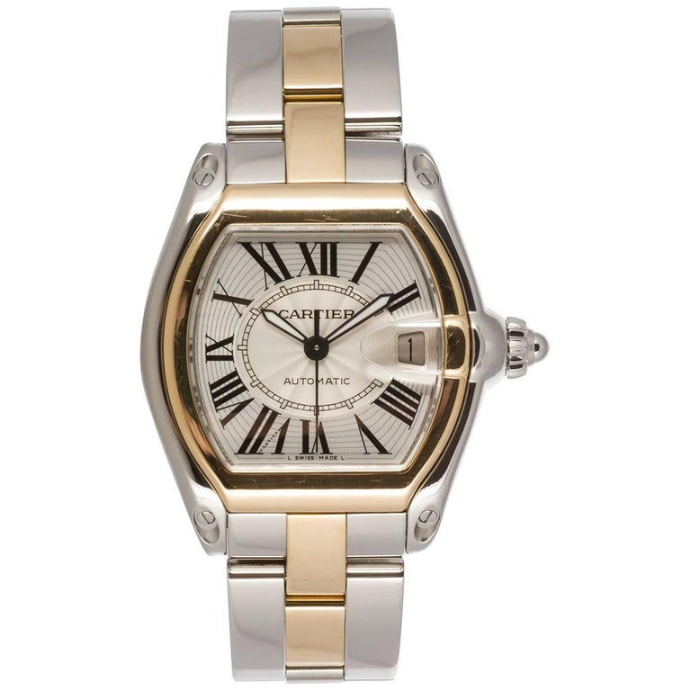 Cartier Yellow Gold Stainless Steel Large Roadster Automatic Wristwatch