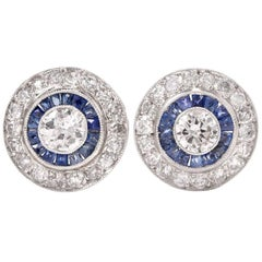 Sapphire Diamond Target Stud Earrings