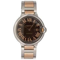 Cartier Yellow Gold Stainless Steel Chocolate Ballon Bleu Automatic Wristwatch