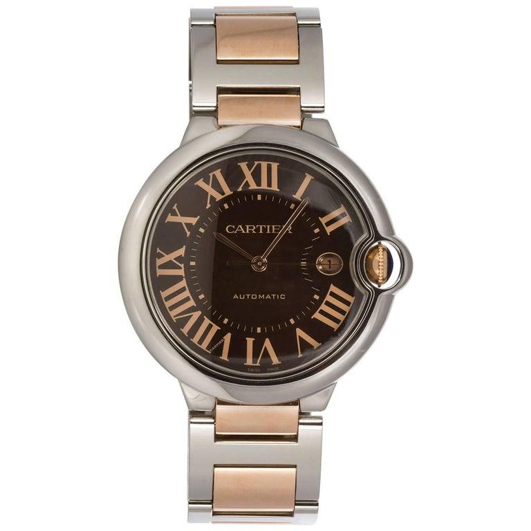 Cartier Yellow Gold Stainless Steel Chocolate Ballon Bleu Automatic Wristwatch