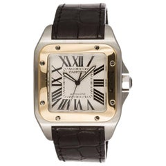 Cartier Yellow Gold Stainless Steel Santos 100 XL Automatic Wristwatch Ref 2656