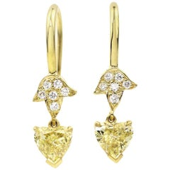 Julius Cohen Yellow Diamond and Gold Leaf Earrings