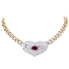 5.54 Carat GIA Certified Ruby Diamond Pendant Choker Link Necklace