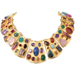 Large Multi Gem Gold Collar Necklace