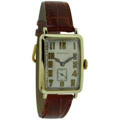 Tiffany & Co. Solid Gold Longines Dial Stern Freres Art Deco Manual Wristwatch