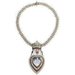 Antique Enamel Pearl Cherub Locket Necklace