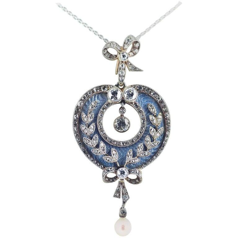 Belle Époque Guilloché Enamel Diamond Pearl Pendant For Sale